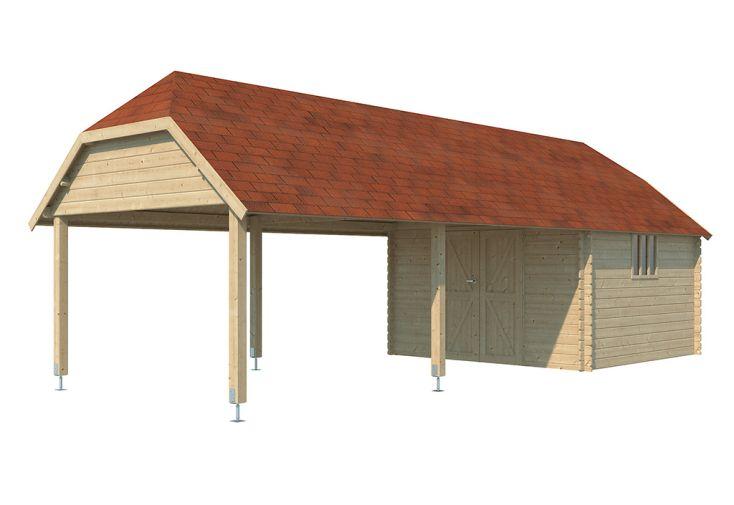Abri de Jardin Bois d'Épicéa Auvent + Toit Shingle Gardenas Oxford XXL 33 m²