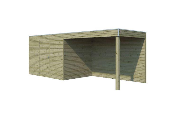 Abri de jardin en bois traité autoclave Gardenas Qube 12 m² + appentis