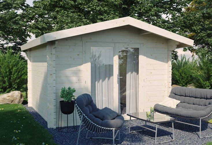 Abri de jardin en bois Luoman avec double porte vitrée Pyry 9 m²