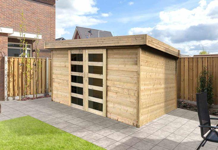 abri de jardin toit plat 28mm 12 m2 avec deux portes vitrées