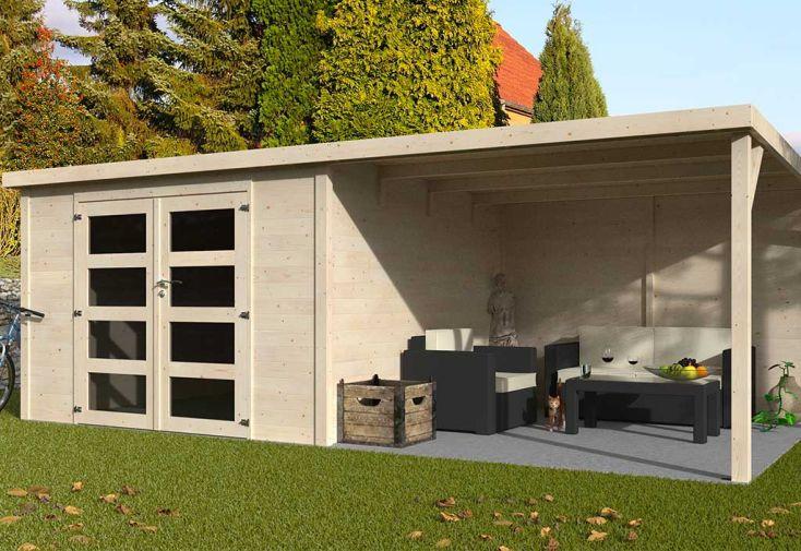 Cabanon de Jardin en Bois de Sapin Brut avec Auvent Décor et Jardin Délices 17,4 m²