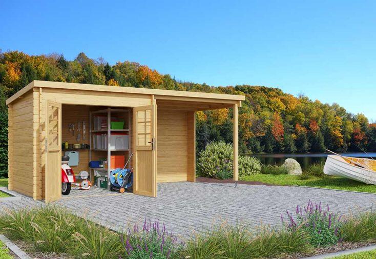 cabane de jardin en bois de 10 m² avec appenti