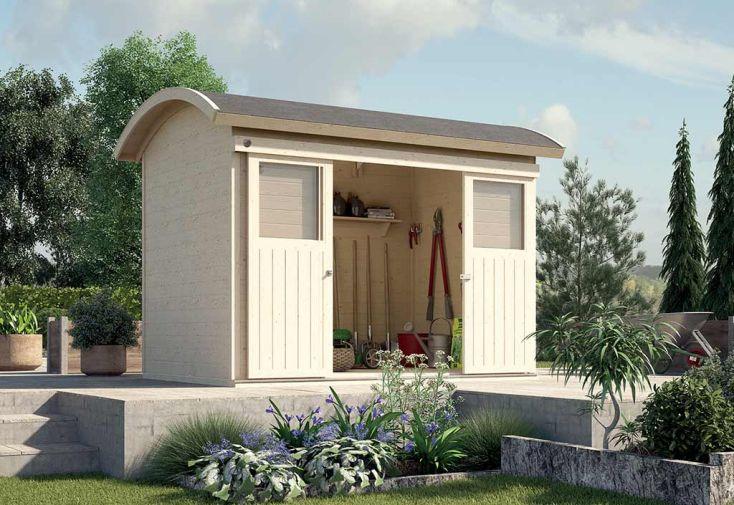 Abri de jardin en bois d'épicéa brut avec toit arrondi Weka 6,17 m²
