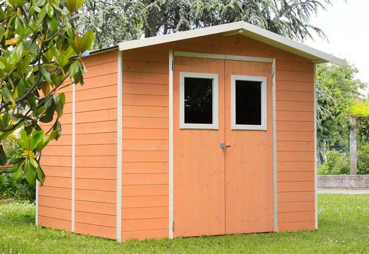 Abri de Jardin en Bois Traité Alce Living Vaniglia 3,9 m² Saumon dans Jardin