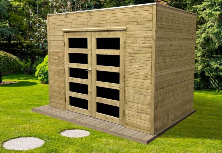 Abri de Jardin en Bois Traité Capri 19 mm – 6 m² avec Toit Plat - Solid