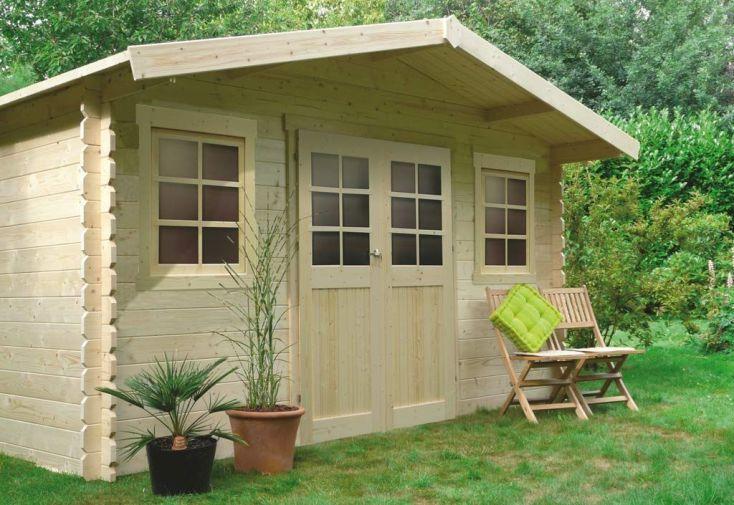 Abri de Jardin en Bois Dole 28 mm - 12 m² avec Toit à 2 Pans