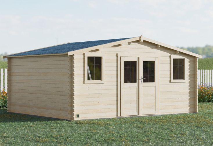 Abri de jardin en bois d'épicéa du nord avec surface de 19,8 m²