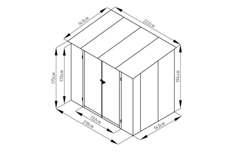 abri de jardin en métal effet bois dimensions 1,5 x 2 m 3 m²