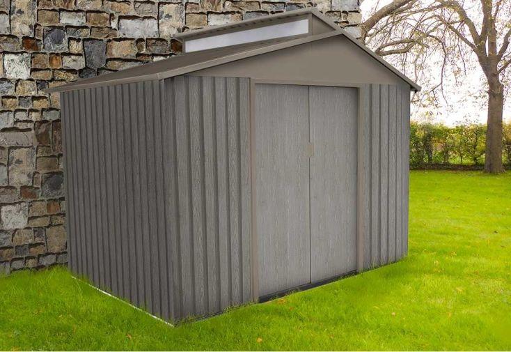 abri de jardin en métal effet bois vieilli double porte coulissante