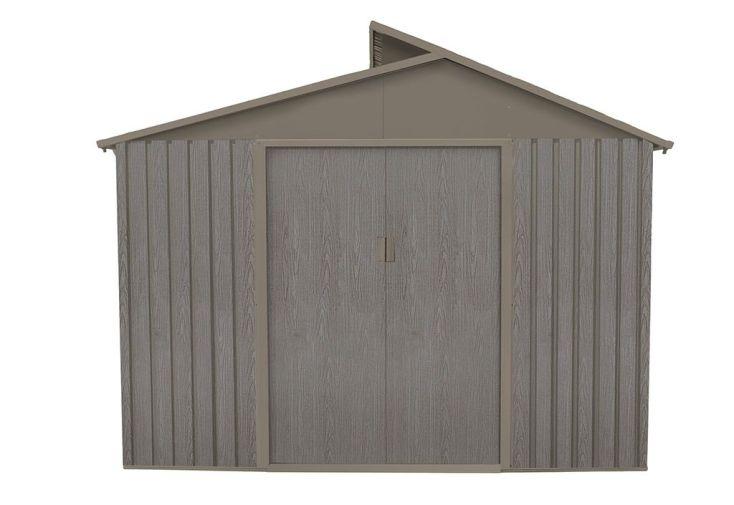 cabane de jardin en métal effet bois vieilli 2,5 x 2,8 m