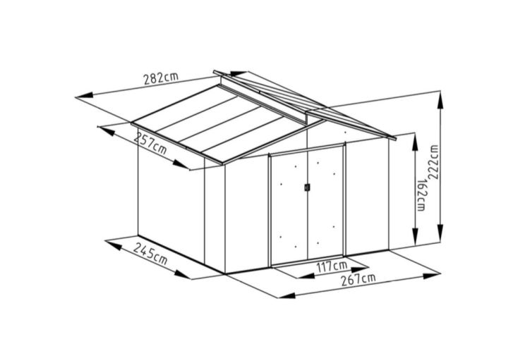 abri de jardin en métal dimension 2,5 x 2,8 m 7,25 m²