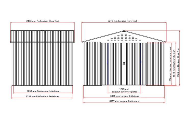 dimensions de l'abri de jardin en métal Colossus 10x8
