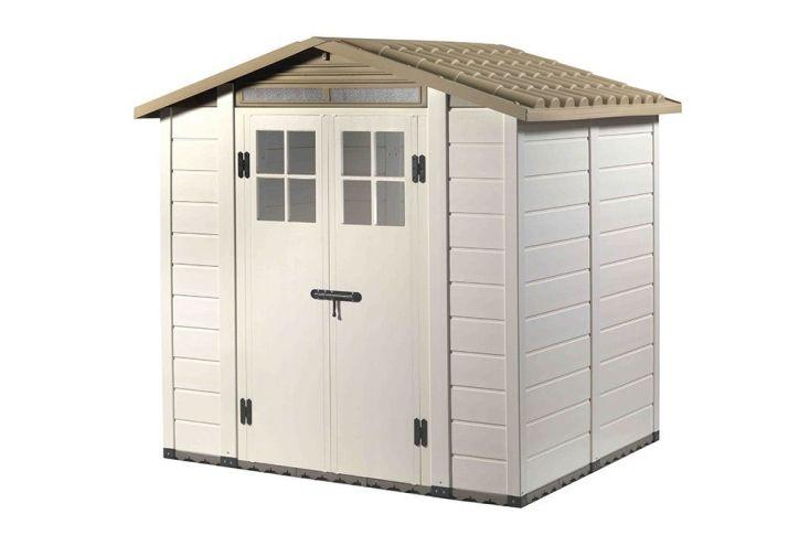 abri de jardin avec double porte en résine et toiture en ABS