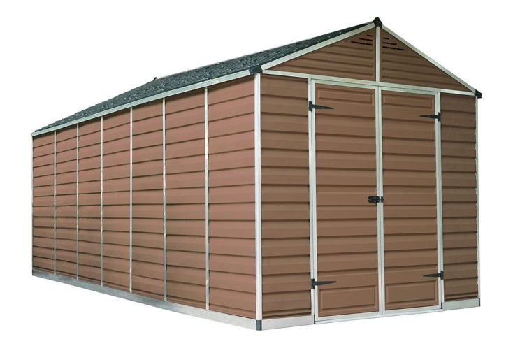 abri de jardin en polycarbonate ambre 5 x 2 m double porte