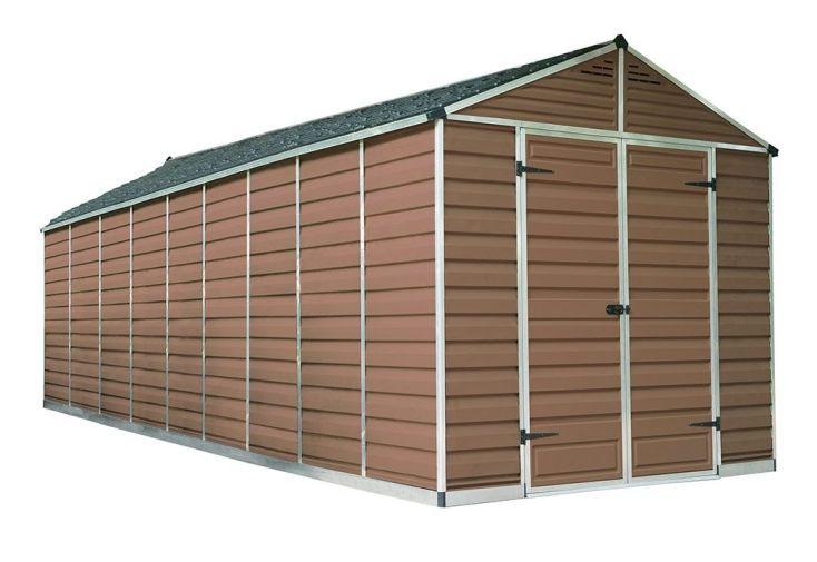 abri de jardin en polycarbonate 7 x 2 m double porte