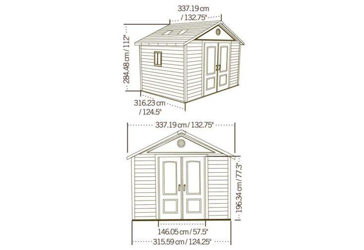 schémas et dimensions abris de jardin