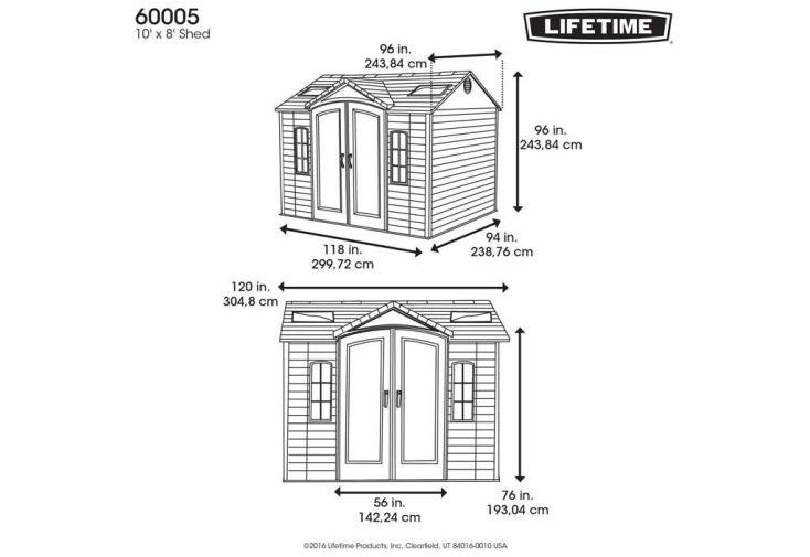 schéma et dimensions abri de jardin