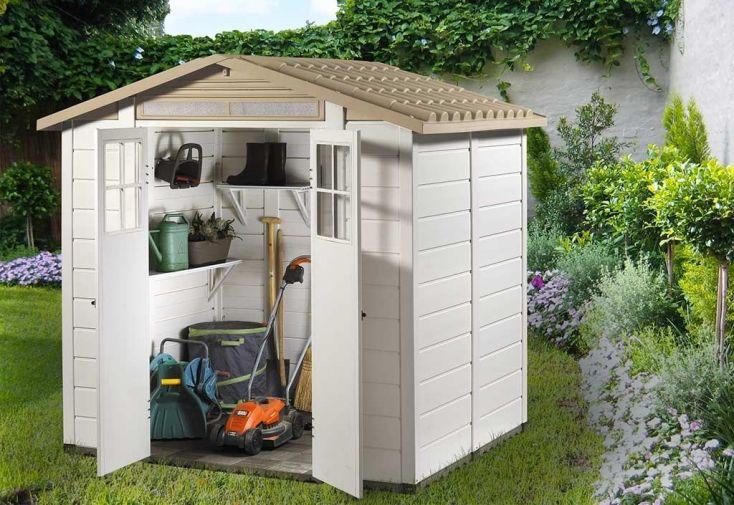 abri de jardin Garofalo EVO 200 résine 20 mm avec plancher + toiture monobloc