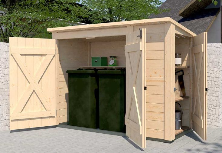 Abri pour vélos ou poubelles en bois d'épicéa + placard 95 x 215 cm Weka