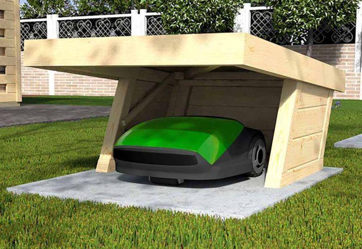 Garage pour Robot Tondeuse en Bois d'Épicéa Brut Weka