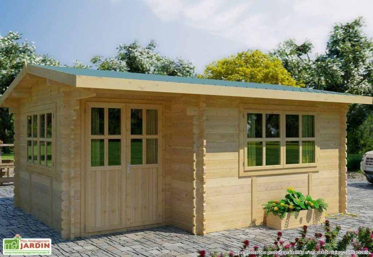 Abri de Jardin Bois Alpina (499x399x243) 44 mm + Plancher + Couverture