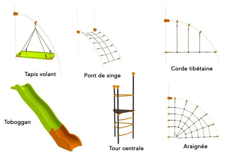 agrés pour aire de jeux EVO Filo : toile d'araignée, corde tibétaine, tapis volant et pont de singe