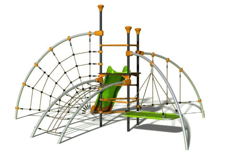 aire de jeux 6 agrès EVO Filo avec toboggan, toile d'araignée, tapis volant et pont de maille