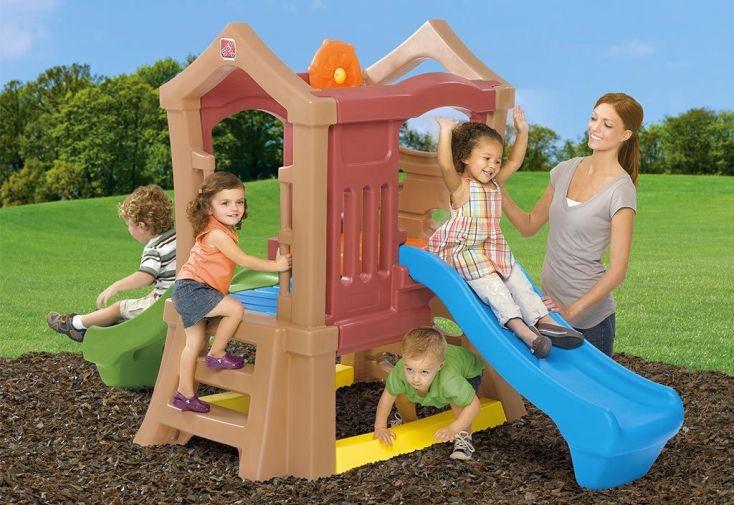 Aire de Jeux pour Enfants Play Up : 2 toboggans + Mur d'Escalade - Step2