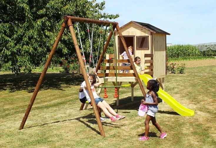 Aire de jeux en bois cabane portique toboggan lynda - Aire de jeux soulet ...