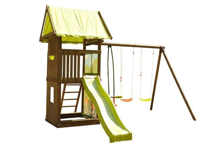aire de jeux en bois traité autoclave avec toboggan et portique balançoires