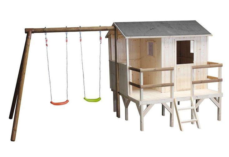 aire de jeux en bois brut et autoclave avec cabane et portique