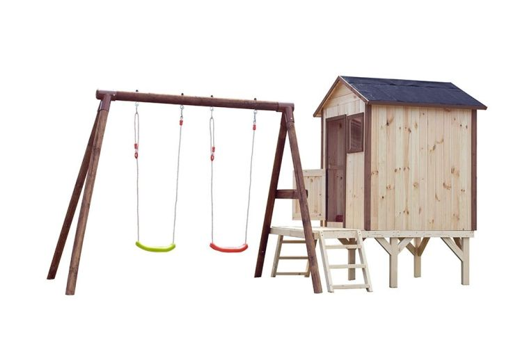aire de jeux avec cabane en bois brut et portique en bois autoclave