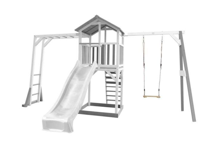 Portique Aire de Jeux d'Extérieur Bois de Hemlock Toboggan Blanc, Balançoire et Barres de Singe Axi Beach Tower