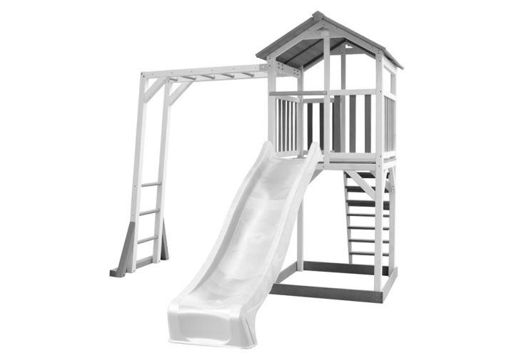 Aire de Jeux d'Extérieur en Bois de Hemlock Toboggan Blanc et Barres de Singe Axi Beach Tower