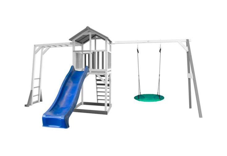 Aire de Jeux d'Extérieur en Bois de Hemlock Toboggan Bleu, Balançoire Nid d'Oiseau et Barres de Singe Axi Beach Tower