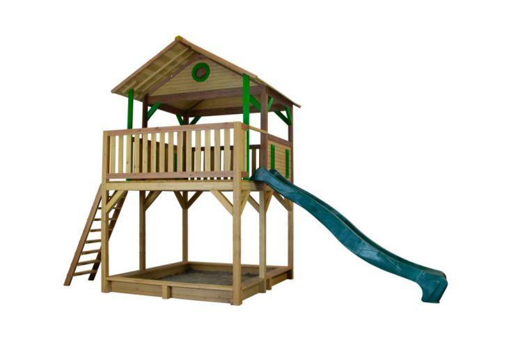 Jeux de Jardin en Bois de Hemlock avec Toboggan Vert Axi Woody