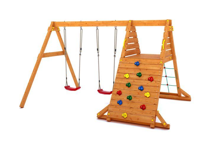 Aire de Jeux en Bois de Pin Traité Balançoires + Escalade Fungoo Spider King