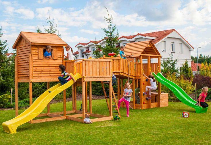 Aire de Jeux en Bois de Pin Traité Cabane + 2 Toboggans Fungoo Sized Plaza