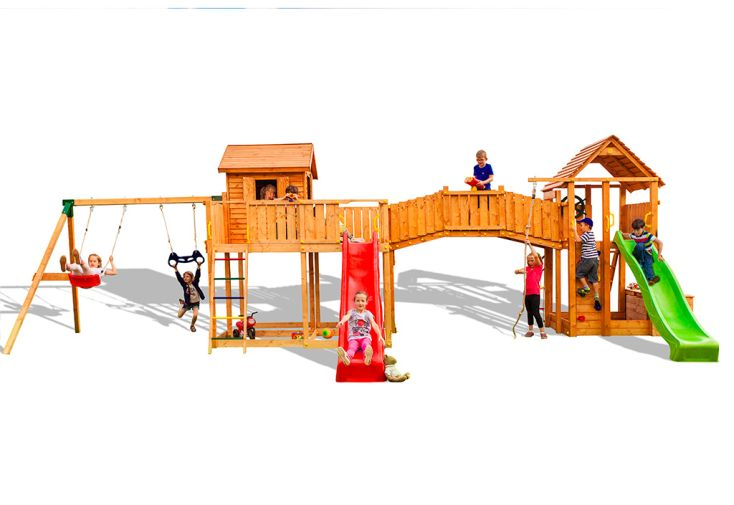 Aire de Jeux en Bois de Pin Traité Portique Balançoire + 2 Toboggans Fungoo Smile Farm