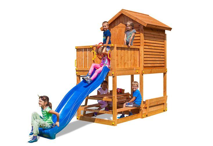 Aire de Jeux de Jardin Cabane en Bois de Pin Traité avec Toboggan Fungoo MyHouse Free Time Beach