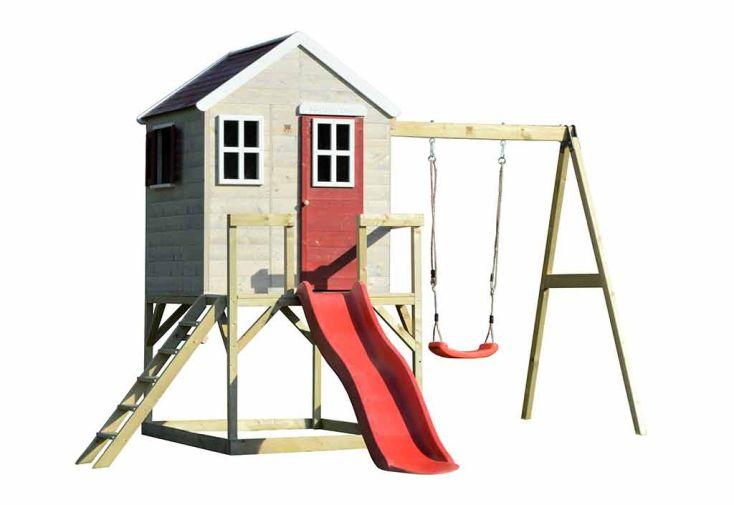 Aire de jeux en bois traité avec portique balançoire et toboggan Wendi Toys Éléphant