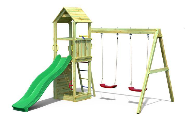 Aire de Jeux avec Portique en Bois de Pin Traité 2 Balançoires Fungoo Flappi