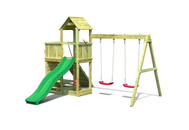 Aire de Jeux avec Portique en Bois de Pin Traité 2 Balançoires Fungoo Floppi