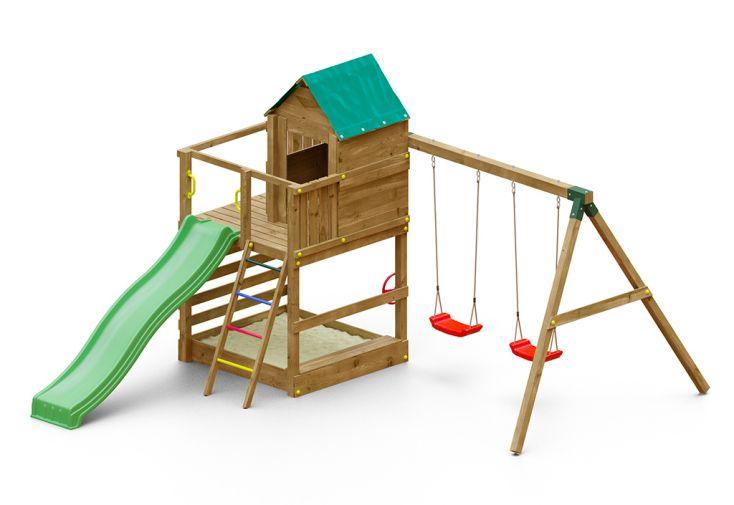 Aire de Jeux avec Portique en Bois de Pin Traité 2 Balançoires Fungoo Jarcas