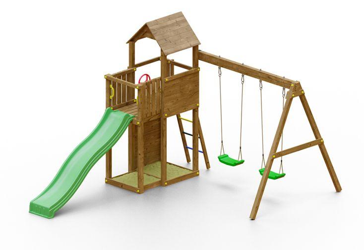 Aire de Jeux avec Portique en Bois de Pin Traité Fungoo Boomer 3