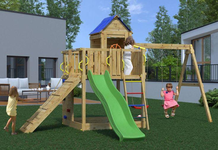 Aire de Jeux avec Portique en Bois de Pin Traité Fungoo Treehouse