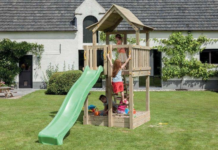 aire de jeux en bois traité autoclave avec toboggan et cabane