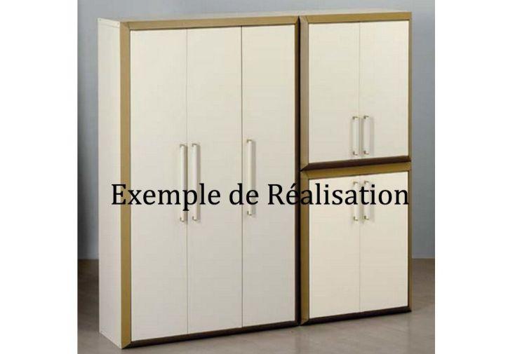 Armoire de Rangement Resine Basse 2 Portes Modulable Prestige