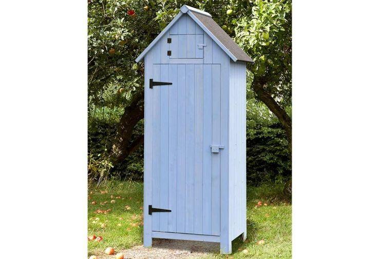 armoire de jardin bleue en bois rangement outils