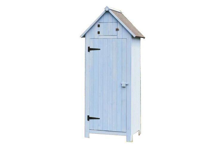 Armoire de jardin en bois fsc 10 mm bleue 180 cm habrita for Cabane de rangement pour jardin